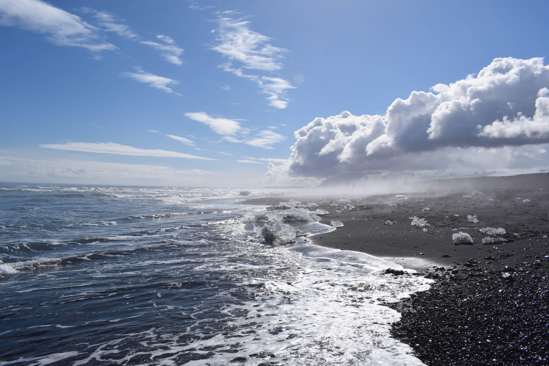 Photo 1: jokulsarlon : iceberg et plage de sable noir en islande du sud